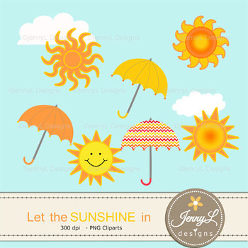 Sun Sunshine Summer Digital Papers and Cliparts