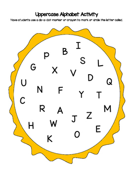 Sun Themed Lowercase & Uppercase Letter Recognition Activity