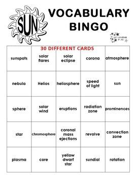Sun Vocabulary Bingo