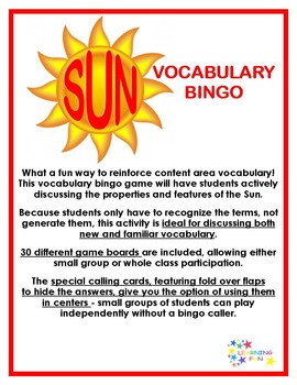 Sun Vocabulary Bingo