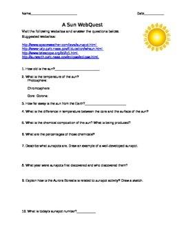 Sun Webquest (Astronomy Solar Sun Spots)