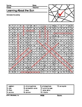 Sun Word Search and Word Scramble Printable Worksheets