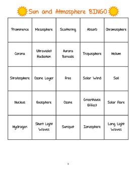 Sun and Earth's Atmosphere Bingo