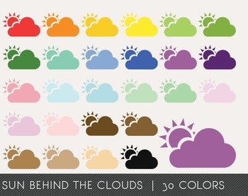 Sun behind the clouds Digital Clipart, Sun behind the clouds Graphics
