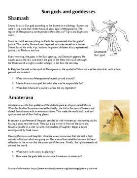 Sun gods and goddess myths