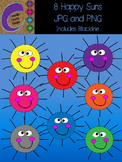 Sun or Cell MicroOrganism Clip Art 8 Colors