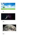 Sun,Moon,Stars unit vocabulary picture cards