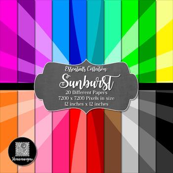 Sunburst 12x12 Digital Paper (Basic Colors) - Commercial o