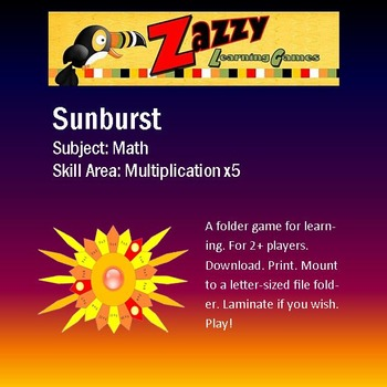 Sunburst Folder Game Multiplication x5