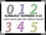 Sunburst Numbers Clip Art for Personal & Commercial Use