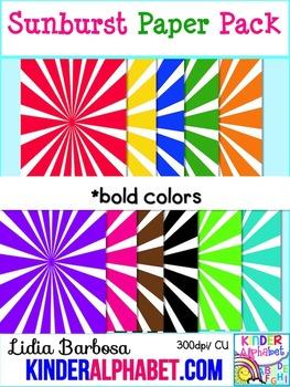Sunburst Papers in Bold { Clip Art for Teachers }