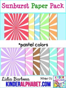 Sunburst Papers in Pastel { Clip Art for Teachers }