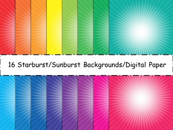 Sunburst/Starburst Backgrounds/Digital Paper