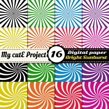 Sunburst digital paper - Swirl shapes scrapbooking paper - Sunburst bright