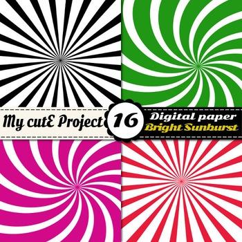 Sunburst digital paper - Swirl shapes scrapbooking paper - Sunburst bright