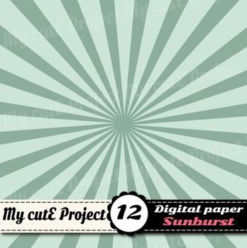 Sunburst digital paper - Swirl shapes scrapbooking paper - Sunburst pattern