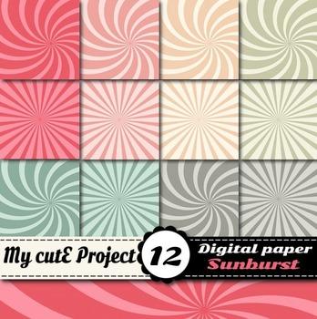 Sunburst digital paper - Swirl shapes scrapbooking paper -