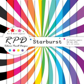 Sunburst pattern rainbow colours & white digital paper set/ backgrounds