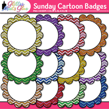 Sunday Morning Cartoons Frame Clip Art {Rainbow Glitter Labels for Resources}