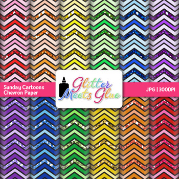 Sunday Cartoons Chevron Paper {Scrapbook Backgrounds for Task Cards & Brag Tags}