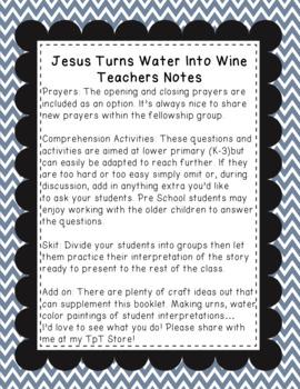 Sunday School Booklet: Jesus Turns Water Into Wine