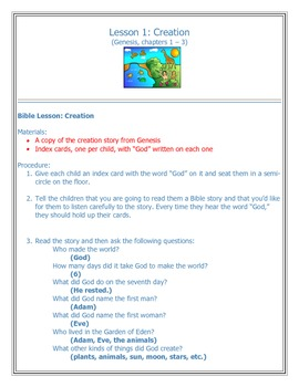 Sunday School Jr. Church Bible Lesson 1 Creation