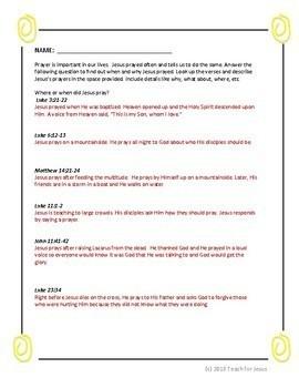 Sunday School Lesson: The Lord's Prayer