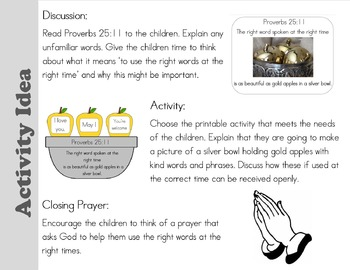 Sunday School Proverbs 25:11 Preschool and PreK Activities