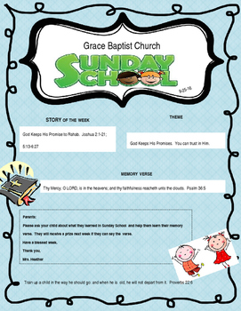 Sunday School Take Home Letter