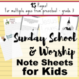 Sunday School or Worship Note-taking Sheets for Children -
