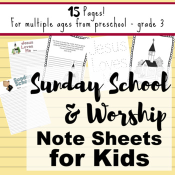 Sunday School or Worship Note-taking Sheets for Children