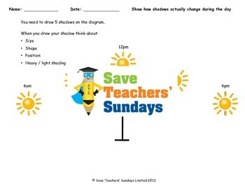 Sundial / Length of shadows Lesson plan and Worksheets (diagram and table)