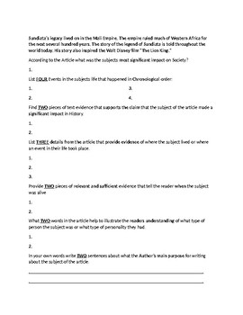 Sundiata Biography Article and Assignment Worksheet
