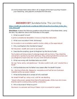 Sundiata Keita: The Lion King Worksheet