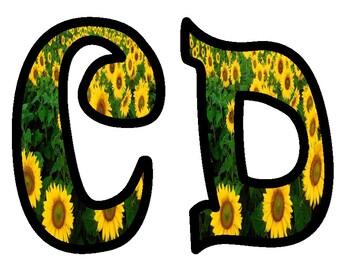 Sunflower Alphabet Bulletin Board Letters