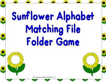 Sunflower Alphabet Matching File Folder Game
