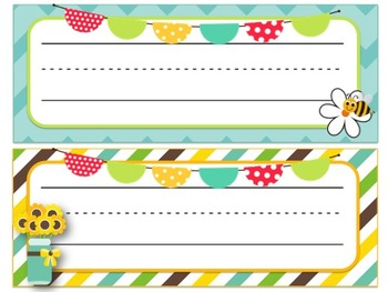 Sunflower & Bee Themed Desk Name Tags (8 different choices!)