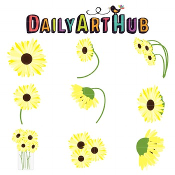 Sunflower Clip Art - Great for Art Class Projects!