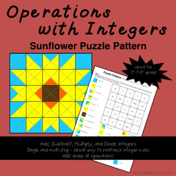 Operations with Integers Color Mystery Pattern