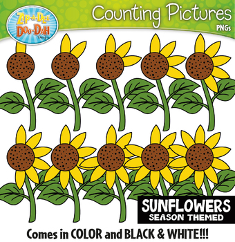 Sunflowers Counting Pictures Clipart {Zip-A-Dee-Doo-Dah Designs}