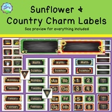 Sunflower Country Farm/Charm Labels - Classroom Decor - blue green yellow red