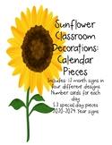 Sunflower Decor: Classroom Calendar