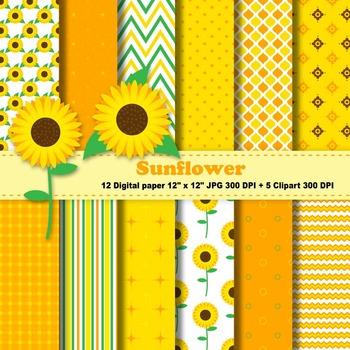 Sunflower Digital Paper + Clipart