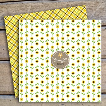 Sunflower  Digital Paper and clipart