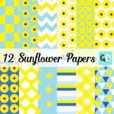 Sunflower Digital Papers, Yellow, Blue, White