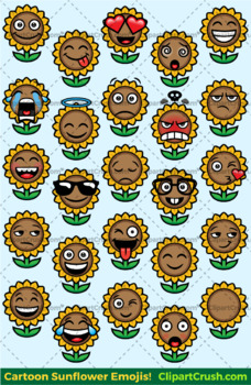 Sunflower Emoji Clipart Faces / Summer Sun flower Emojis Emotions Expression