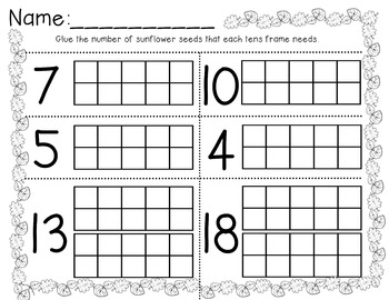 Sunflower/Fall Tens Frame Math Activity