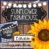 Sunflower Farmhouse EDITABLE Classroom Decor