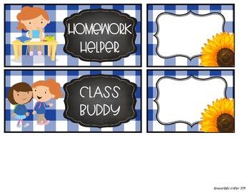 Sunflower Farmhouse EDITABLE Job Chart