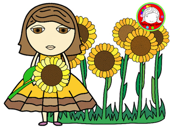 Sunflower Girl Clipart (Personal & Commercial Use)